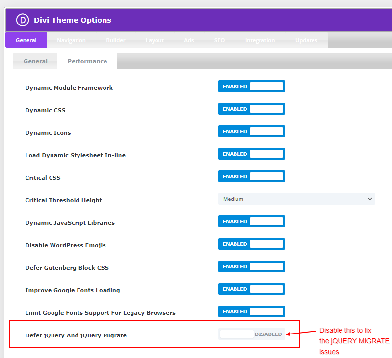 Fix for DIVI JQuery Migrate Issues